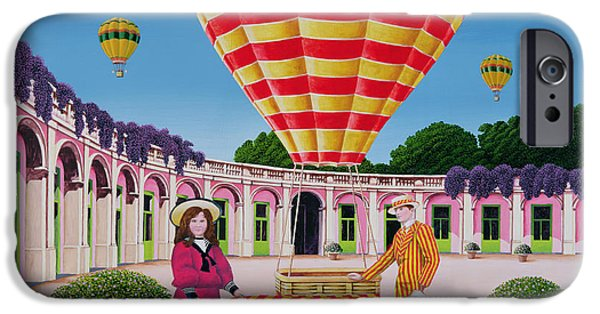 Psychedelic Photographs iPhone Cases - The Balloonist, 1986 Acrylic On Board iPhone Case by Anthony Southcombe