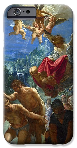 Baptism Paintings iPhone Cases - The Baptism of Christ iPhone Case by Adam Elsheimer