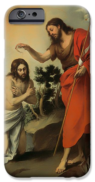 Christ Artwork iPhone Cases - The Baptism of Christ iPhone Case by Bartolome Murillo