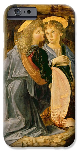 Jordan iPhone Cases - The Baptism Of Christ By John The Baptist, C.1475 Oil On Panel Detail Of 362326 iPhone Case by Andrea Verrocchio