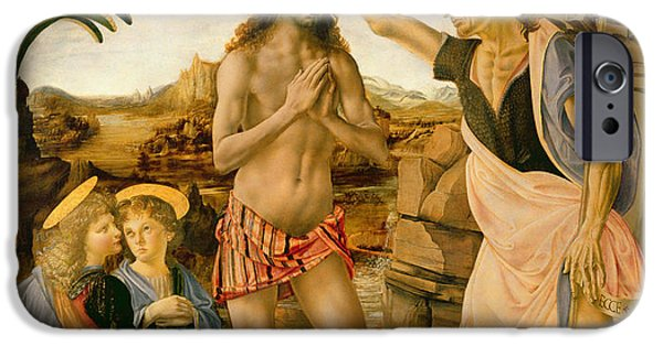 Blessings Paintings iPhone Cases - The Baptism of Christ by John the Baptist iPhone Case by Leonardo da Vinci