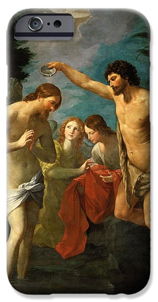 Baptism Paintings iPhone Cases - The Baptism of Christ iPhone Case by Guido Reni