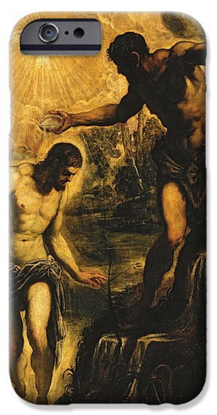 Jordan iPhone Cases - The Baptism of Christ iPhone Case by Jacopo Robusti Tintoretto