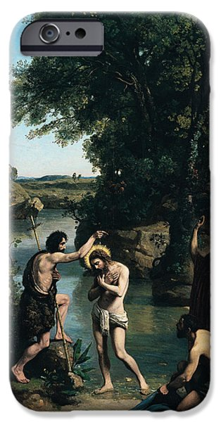 Baptism Paintings iPhone Cases - The Baptism of Christ iPhone Case by Jean Baptiste Camille Corot