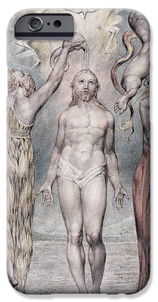 Christ Drawings iPhone Cases - The Baptism Of Christ iPhone Case by William Blake