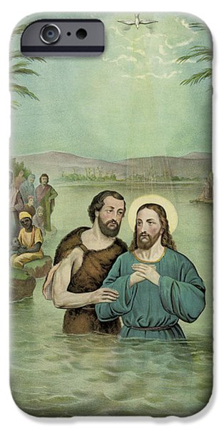 Christ Drawings iPhone Cases - The Baptism of Jesus Christ Circa 1893 iPhone Case by Aged Pixel