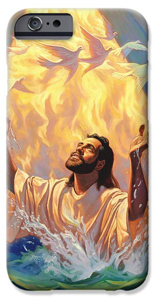 Christian work Paintings iPhone Cases - The Baptism of Jesus iPhone Case by Jeff Haynie