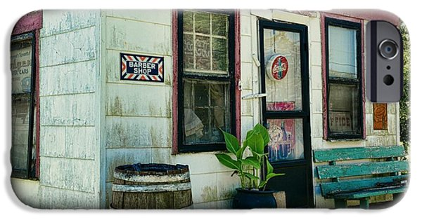 Rain Barrel iPhone Cases - The Barber Shop from a different era iPhone Case by Paul Ward