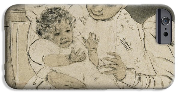 Chair Drawings iPhone Cases - The Barefooted Child iPhone Case by Mary Stevenson Cassatt