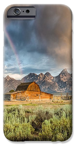 Buildings iPhone Cases - The Barn at the end of the Rainbow iPhone Case by Andres Leon