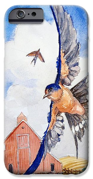 Barn Swallow Paintings iPhone Cases - The Barn Swallow iPhone Case by Virginia  Dusenbury