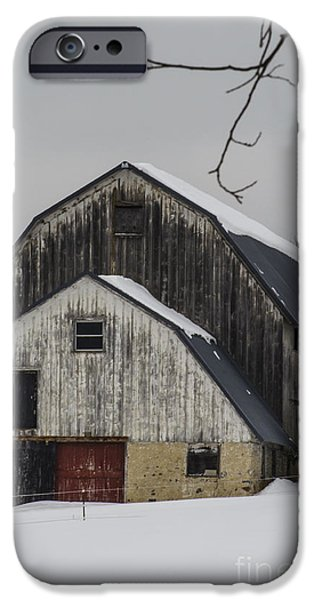 Best Sellers -  - Red Barn In Winter iPhone Cases - The Barn with a Red Door iPhone Case by Deborah Smolinske