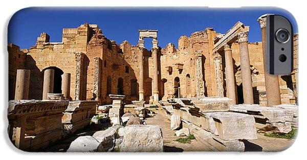 Leptis Magna iPhone Cases - The Basilica of Severus at Leptis Magna in Libya iPhone Case by Robert Preston