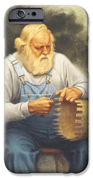Beard iPhone Cases - The Basketmaker in pastel iPhone Case by Paul Krapf