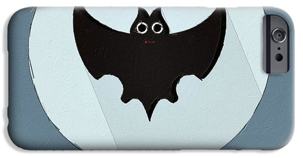 Bat Digital Art iPhone Cases - The Bat Cute Portrait iPhone Case by Florian Rodarte