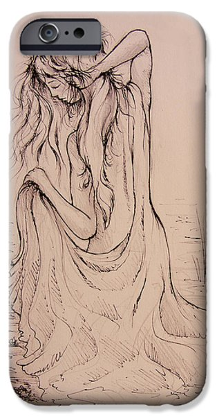 Bathing Drawings iPhone Cases - The Bath iPhone Case by Rachel Christine Nowicki