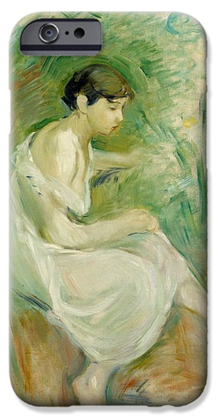 Berthe Paintings iPhone Cases - The Bather in Chemise iPhone Case by Berthe Morisot