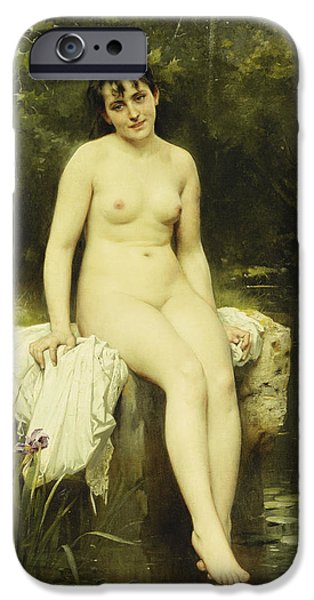 19th Century iPhone Cases - The Bather iPhone Case by Leon Bazile Perrault