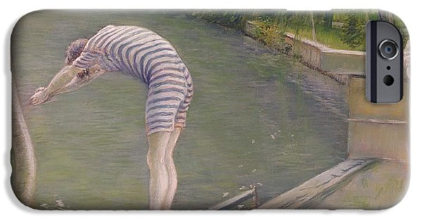 Bathing iPhone Cases - The Bather, Or The Diver, 1877 Oil On Canvas iPhone Case by Gustave Caillebotte