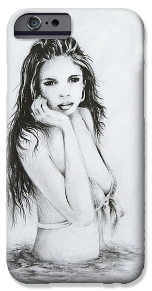 Bathing Drawings iPhone Cases - the Bather iPhone Case by Rachel Christine Nowicki