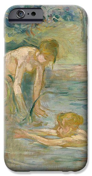 Berthe Paintings iPhone Cases - The Bathers iPhone Case by Berthe Morisot