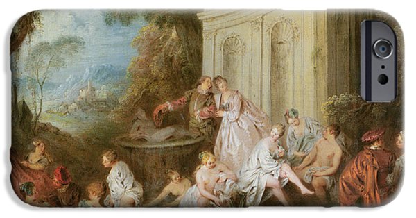 Bathing iPhone Cases - The Bathers Oil On Canvas iPhone Case by Jean-Baptiste Joseph Pater