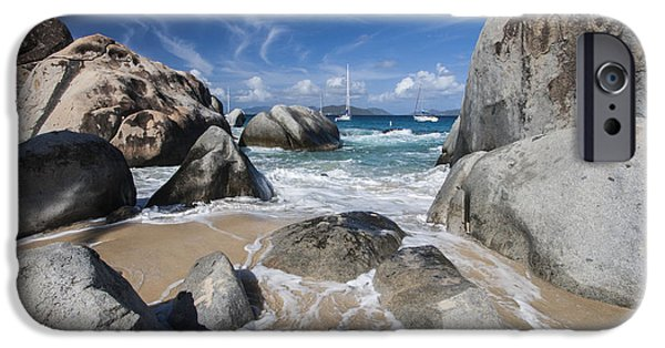 Sailboat Photos iPhone Cases - The Baths at Virgin Gorda BVI iPhone Case by Adam Romanowicz