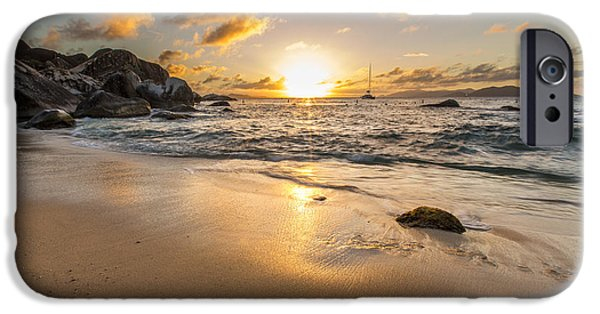 Surf Silhouette iPhone Cases - The Baths Sunset iPhone Case by Bruno Kolovrat