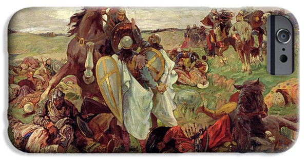 Horse iPhone Cases - The Battle Between Russians And Tatars, 1916 Oil On Canvas iPhone Case by Sergey Nikolayevich Arkhipov