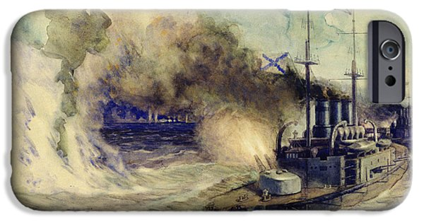 Warship iPhone Cases - The battle between the Black Sea Fleet and the armoured cruiser Goeben iPhone Case by Mikhail Mikhailovich Semyonov