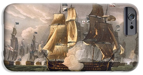 Sailing Drawings iPhone Cases - The Battle Of Cape St Vincent iPhone Case by Thomas Whitcombe