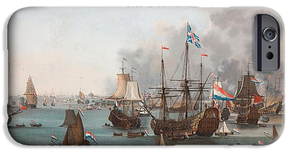 Chatham Paintings iPhone Cases - The Battle of Chatham iPhone Case by Willem van der Stoop