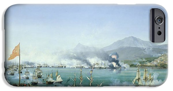 Warship iPhone Cases - The Battle of Navarino iPhone Case by Ambroise Louis Garneray