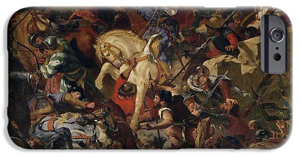 Romanticism iPhone Cases - The Battle Of Taillebourg, 21st July 1242, 1837 Oil On Canvas iPhone Case by Ferdinand Victor Eugene Delacroix