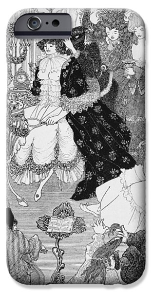 Lines Drawings iPhone Cases - The Battle of the Beaux and the Belles iPhone Case by Aubrey Beardsley