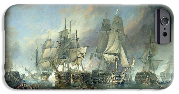 Sea iPhone Cases - The Battle Of Trafalgar, 1805 Oil On Canvas iPhone Case by Clarkson R.A. Stanfield