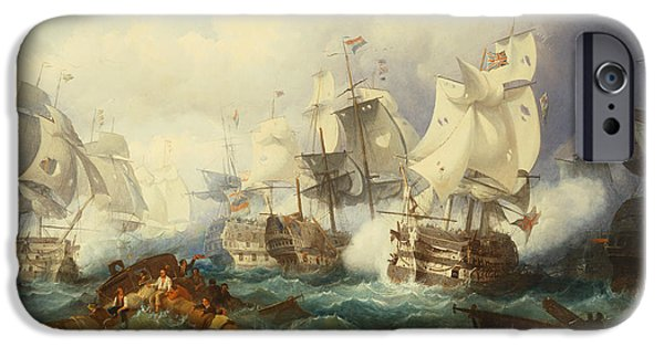 Admiral iPhone Cases - The Battle of Trafalgar iPhone Case by Philip James de Loutherbourg