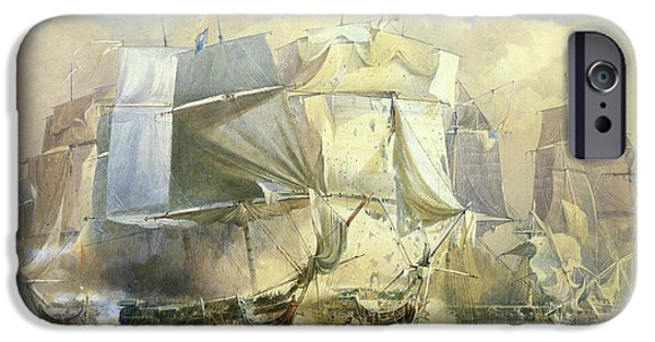 Admiral iPhone Cases - The Battle of Trafalgar iPhone Case by William John Huggins