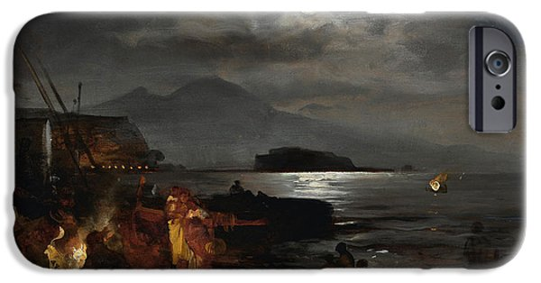 Sea Moon Full Moon Paintings iPhone Cases - The bay of Naples in the moonlight  iPhone Case by Celestial Images