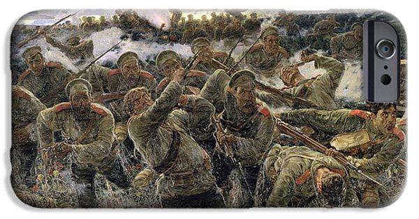 Bayonet iPhone Cases - The Bayonet Fighting, 1904 Oil On Canvas iPhone Case by Pyotr Pavlovich Karyagin
