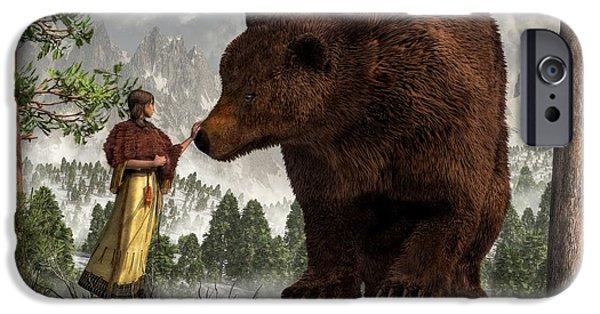 Remington Digital iPhone Cases - The Bear Woman iPhone Case by Daniel Eskridge