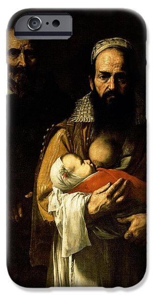 Miracle Photographs iPhone Cases - The Bearded Woman Breastfeeding, 1631 Oil On Canvas Detail Of 84020 iPhone Case by Jusepe de Ribera
