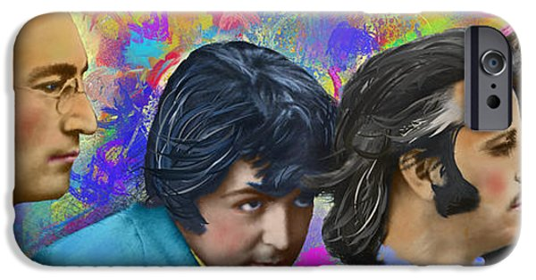 Beatles iPhone Cases - The Beatles 4 iPhone Case by Donald Pavlica