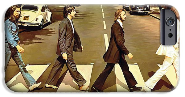 Musician Art iPhone Cases - The Beatles Abbey Road Artwork iPhone Case by Sheraz A