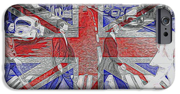 Abbey Road iPhone Cases - The Beatles Abbey Road UK Flag iPhone Case by Dan Sproul