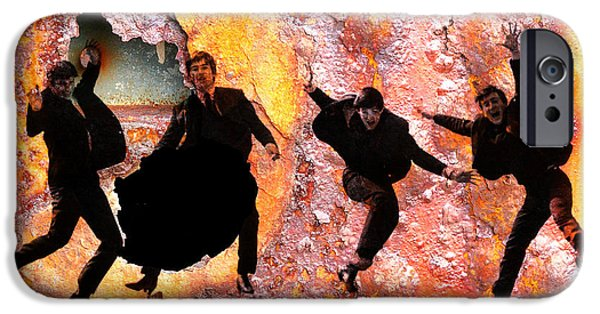 Michael Mixed Media iPhone Cases - The Beatles and the wall iPhone Case by M and L Creations