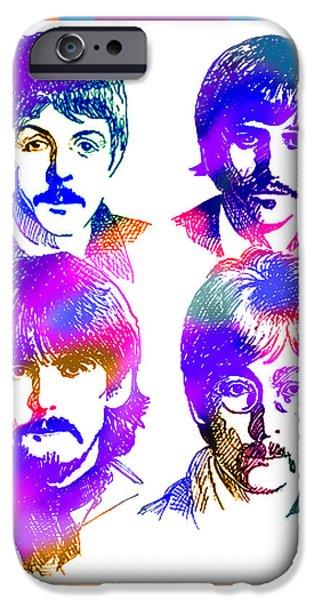 Beatles iPhone Cases - The Beatles Art iPhone Case by Robert Korhonen