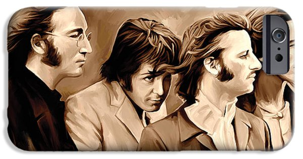 Beatles iPhone Cases - The Beatles Artwork 4 iPhone Case by Sheraz A