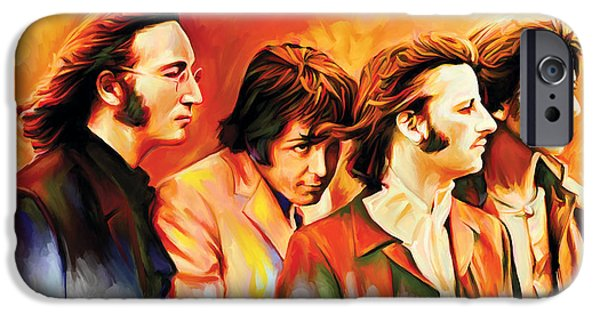 Beatles iPhone Cases - The Beatles Artwork iPhone Case by Sheraz A