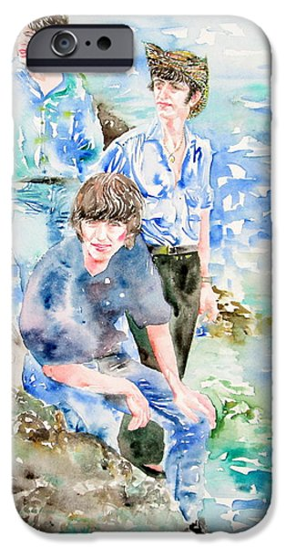 THE BEATLES AT THE SEA watercolor portrait iPhone Case by Fabrizio Cassetta